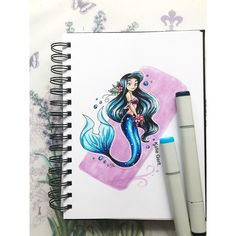 A sparkly blue mermaid for Mermay! Done with Copic markers. Copic Marker Art, Copic Art, Copic Markers, Copic Drawings, Cute Drawings, Dream Drawing, Mermaid Drawings, Fantasy Drawings, Beautiful Artwork