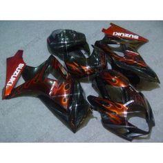 Suzuki GSX-R 1000 2007-2008 K7 Injection ABS Fairing - Flame Orange - Black | $659.00
