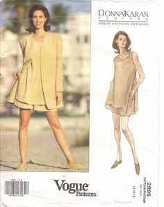 90s Vintage Vogue Sewing Pattern 2512 Donna Karan New York Jacket Top Skirt