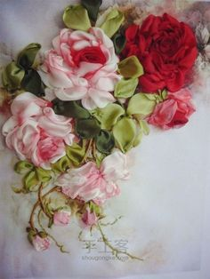 [Share] good tutorials ribbon embroidery three-dimensional roses Step 9