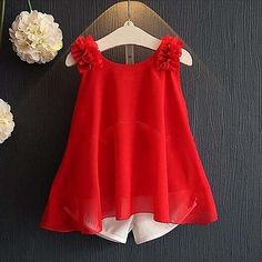 Red Ruffles Trim Tank Top And Bow Decor Shorts – Kids Fashion Girls Summer Outfits, Toddler Girl Outfits, Baby Girl Dresses, Short Outfits, Summer Girls, Baby Girl Fashion, Toddler Fashion, Kids Fashion, Baby Dress Design