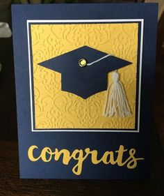 handmade graduation card from wandasimages ... black and yellow ... mortar board with tassle ... die cut CONGRATS .... Stampin' Up!