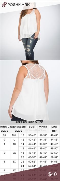 Torrid lace braided chiffon sheer tank size 2 NWOT Torrid lace braided chiffon sheer tank size 2 NWOT... bought this and took the tags off thinking it would fit. However it was to big.  Never worn BRAND NEW Braided detailing lines the collar, sleeves & crisscross along the delicate back. A lace inset back sweetly bares some skin. This ivory chiffon top is flowy where you want it, w/ problem solving pleating along the front that flatters torrid Tops Blouses