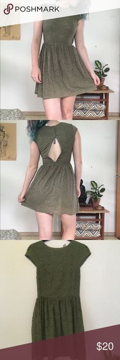 Green Lace Dress Adorable army green lace dress by H&M Divided. This dress is perfect for any occasion and can be dressed up or down! The back closes, I promise, just not when it's on my body. 😅 The Divided by H&M tag says size 8 but the other tag says US 4, so I think that's why I accidentally bought it too small for myself. Also, fun fact, I bought this dress at H&M in Ireland 🇮🇪!  Product in like new condition, only worn once! H&M Dresses