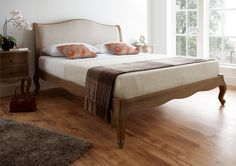 Amelia Oak Bed Frame - LFE The Amelia low foot end bed is a beautiful French inspired frame which combines the beauty of weathered oak, with a natural linen look fabric to create a design that is elegant and sophisticated. French Style Bed, Bed Frames For Sale, Oak Beds, Bed Furniture, Rattan Bed, Grey Bed Frame, Bed Styling, Cheap King Size Beds, Bed Frame