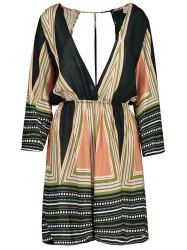 Striped Plunging Neck Playsuit - COLORMIX