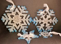 Clear/Teal SnowFlakes 4 piece, Fused Glass Textured, Icy SnowFlake Ornament, Fused Glass Snow Flakes Sun-Catcher, Snowflake Lot SFL-11 by NWcreative1 on Etsy https://www.etsy.com/listing/486003800/clearteal-snowflakes-4-piece-fused-glass