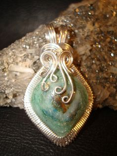 Fuchsite Wire Wrapped Silver Pendant by superioragates on Etsy, $35.00