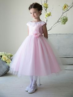 Adorable Blue Boat Neckline Satin Flower Girl Dress with Tulle Skirt