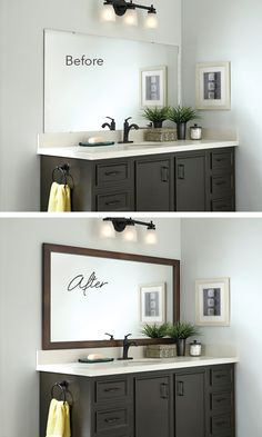 Mirror Makeover! Add a frame for an instant bathroom upgrade. #beforeandafter