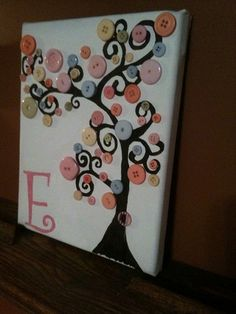 Curly button tree  Acrylic paints on a stretched 8x10 canvas