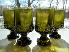 Tiffin Glass 4 Franciscan Madeira Green 10 ounce Goblets #TiffinGlass
