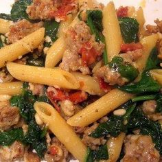 Sausage and Spinach Penne Skillet Supper - Recipes, Dinner Ideas, Healthy Recipes & Food Guide good food Think Food, I Love Food, Food For Thought, Good Food, Yummy Food, Fun Food, Tasty, Spinach Recipes, Sausage Recipes
