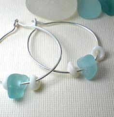 Sea Glass Puka Earrings - Etsy