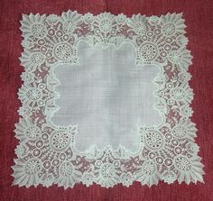 Another fine lace from the 1/18/2015 Ebay Alerts, Point de Gaze Handkerchief.