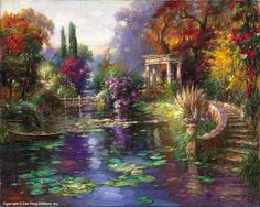 """CAO YONG """"Garden Pond"""" Limited Edition H/E CANVAS 16"""" by 20"""" Cao Yong In 1962, Cao Yong was born into in China. During the Cultural Revolution, his family was singled out for harsh treatment by the au"""