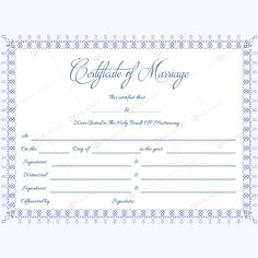 Marriage Certificate Template Microsoft Word  Sari