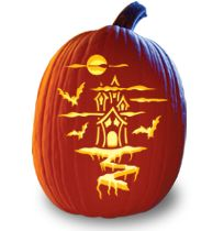 pumpkin carving pattern haunted house