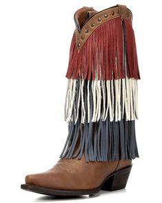 American Rebel Boot Company Women's Redneck Riviera USA Fringe Boot - Crazy Horse Honey