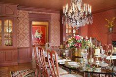 Large Harlequin framed artwork in the Butler's Pantry framed by the dining room entrace