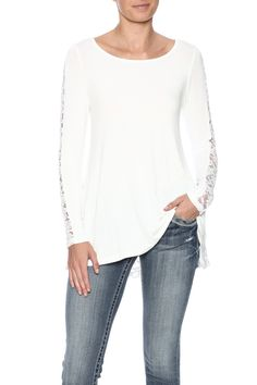 Soft top with lace detail on sleeves and back and a high-low hem.   Lace Detail Top by EMERALD COLLECTION. Clothing - Tops - Long Sleeve New Jersey