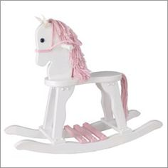 White Rocking Horse ~   Fun entertainment for our baby girl!  #carouseldesigns  #nursery