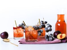Sparkling Sugar Plum Fairy Punch : This whimsical punch is the perfect holiday beverage. Mix equal parts white grape juice, cranberry juice and seltzer water, then serve over ice and garnish with sliced plums and sugared black grapes on the vine. Punch bowls are making a comeback, and this beverage would look extra festive in a large punch bowl with plum slices floating on top and a bunch of sugared black grapes spilling over the side.