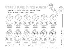 Super Power:  Open Ended Articulation Homework Sheet