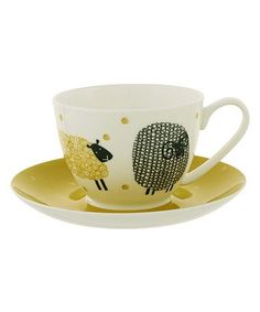 Another great find on #zulily! Dotty Sheep Cup & Saucer #zulilyfinds