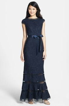 Adrianna Papell Tulle Inset Lace Gown available at #Nordstrom