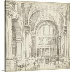 Ethan Harper Premium Thick-Wrap Canvas Wall Art Print entitled Interior Architectural Study I, None