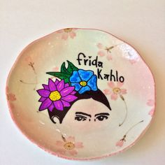 Frida Kahlo With Flowers Decorative Plate by Monailtd on Etsy
