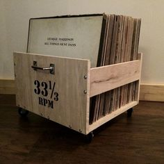 LP Crate with Customizable Lettering by WoodDogStudios on Etsy Vinyl Record Display, Vinyl Record Storage, Lp Storage, Stockage Record, Lp Regal, Record Player, Lettering, Lps, Vinyl Records