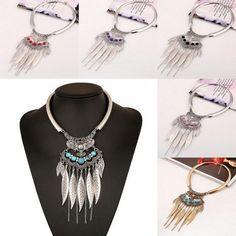 HOT Bohemian Turquoise Leaf Tassel Pendant Bib Statement Circle Necklace Jewelry #Unbranded #Pendant