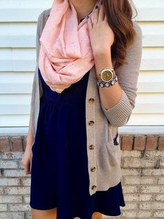 tan cardigan, navy dress, pink scarf