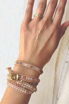 Pink and Rose Gold Single Wrap Bracelet on Beige Leather - Chan Luu