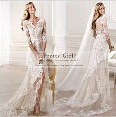 vestido de noiva 2015 Romantic Lace Wedding Dresses robe de mariage Vintage Half Sleeve Boho High Low Wedding Gowns Bridal Dress