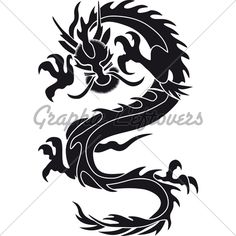 dragon silhouette   Chinese Dragon Silhouette Tattoo Tribal