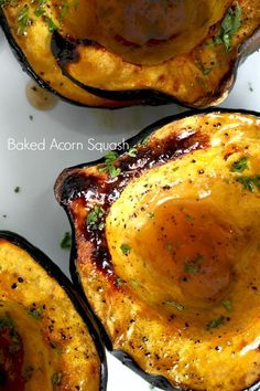 Baked acorn squash couldn't be easier. Bake the sliced and seeded squash wit… Baked acorn squash couldn't be easier. Bake the sliced and seeded squash with butter and maple syrup until fork tender. A lovely autumn side dish. Acorn Squash Recipes Healthy, Baked Squash Recipes, Healthy Recipes, Fall Recipes, Gourmet Recipes, Vegetarian Recipes, Cooking Recipes, Dinner Recipes, Cooking Cake