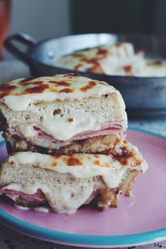 This unconventional croque monsieur is made with 3 cheeses and swaps out mustard for a sweet yet rich port fig jam to make it totally irresistible! National Grilled Cheese Day, Best Grilled Cheese, Grilled Cheese Recipes, My Recipes, Snack Recipes, Sandwich Recipes, Dried Fig Recipes, Food Truck Menu, Fig Jam