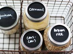 Make chalkboard mason jar lids to organize your pantry.