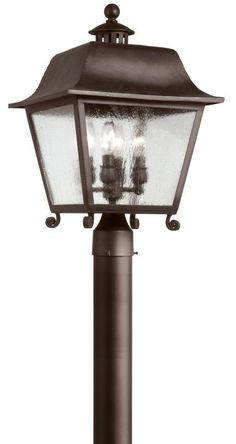 Troy Lighting P9445 Bristol 4 Light Post Light with Seedy Glass Natural Bronze Outdoor Lighting Post Lights Post Lights