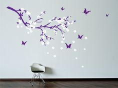 Branch with flowers and butterflies Wall Decal. Wall Sticker.. $42.00, via Etsy.