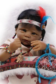 """22 """"inches rebirth silicone Simulation Doll American Indian girl upscale children's toys Renowned designer"""