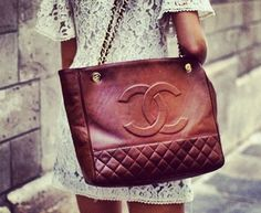Brown leather Chanel