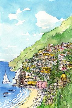 Positano Italy art print from an original watercolor by AndreVoyy