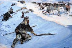 Magdalenian reindeer hunters. Zdeněk Burian