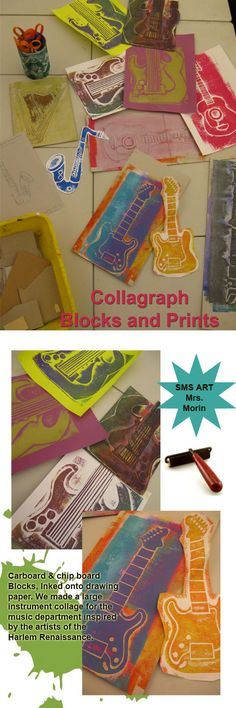 Students made line drawings of musical instruments. Then, they used cardboard and chip board to create a collagraph block. We made a large collage of prints in the music wing of the school!- Mrs Morin SMS art - neat to interrelate with music 7th Grade Art, Ecole Art, School Art Projects, Art Lessons Elementary, Middle School Art, Tampons, Art Lesson Plans, Art Classroom, Music Education