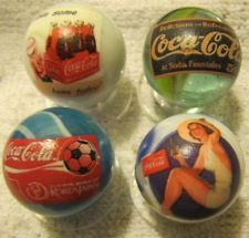 4 COCA COLA advertisement logo MARBLES 1 INCH SIZE !!