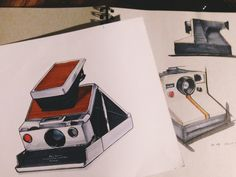 Polaroid drawings in colour by Andy Liao  #design #industrialdesign #sketch #drawing #copic #illustration #art #camera